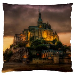 Mont St Michel Sunset Island Church Standard Flano Cushion Case (two Sides)