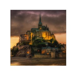 Mont St Michel Sunset Island Church Small Satin Scarf (square)