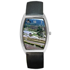 Rice Terrace Rice Fields Barrel Style Metal Watch by Nexatart