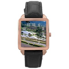 Rice Terrace Rice Fields Rose Gold Leather Watch  by Nexatart