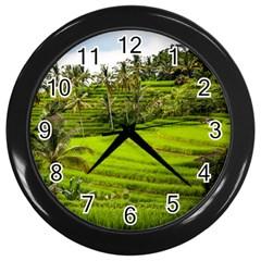 Rice Terrace Terraces Wall Clocks (black) by Nexatart