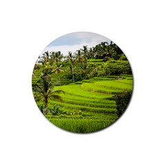 Rice Terrace Terraces Rubber Coaster (round)