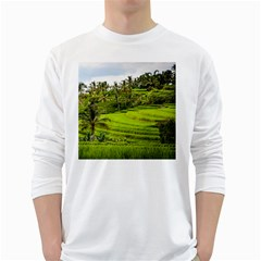Rice Terrace Terraces White Long Sleeve T Shirts