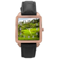 Rice Terrace Terraces Rose Gold Leather Watch