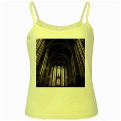 Sainte Chapelle Paris Stained Glass Yellow Spaghetti Tank