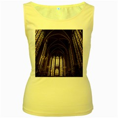 Sainte Chapelle Paris Stained Glass Women s Yellow Tank Top