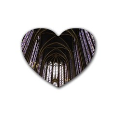 Sainte Chapelle Paris Stained Glass Rubber Coaster (heart)  by Nexatart