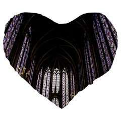 Sainte Chapelle Paris Stained Glass Large 19  Premium Flano Heart Shape Cushions by Nexatart