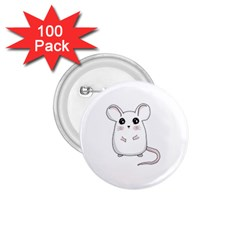 Cute Mouse 1 75  Buttons (100 Pack)  by Valentinaart
