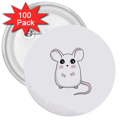 Cute Mouse 3  Buttons (100 Pack)  by Valentinaart