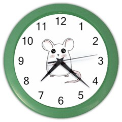 Cute Mouse Color Wall Clocks by Valentinaart