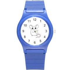 Cute Mouse Round Plastic Sport Watch (s) by Valentinaart