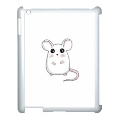 Cute Mouse Apple Ipad 3/4 Case (white) by Valentinaart