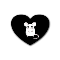 Cute Mouse Rubber Coaster (heart)  by Valentinaart