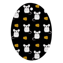 Cute Mouse Pattern Oval Ornament (two Sides) by Valentinaart