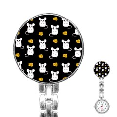 Cute Mouse Pattern Stainless Steel Nurses Watch by Valentinaart