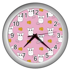 Cute Mouse Pattern Wall Clocks (silver)  by Valentinaart