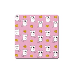 Cute Mouse Pattern Square Magnet by Valentinaart