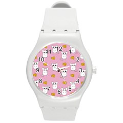 Cute Mouse Pattern Round Plastic Sport Watch (m) by Valentinaart