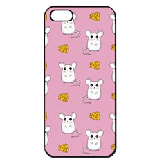 Cute Mouse Pattern Apple Iphone 5 Seamless Case (black) by Valentinaart