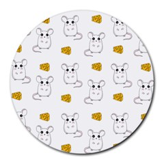 Cute Mouse Pattern Round Mousepads by Valentinaart