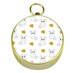 Cute Mouse Pattern Gold Compasses by Valentinaart