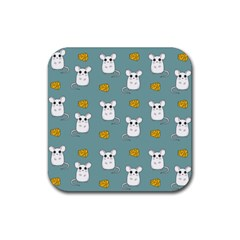 Cute Mouse Pattern Rubber Coaster (square)  by Valentinaart