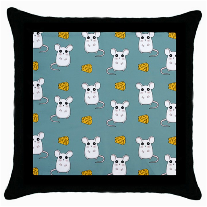 Cute Mouse Pattern Throw Pillow Case (Black)