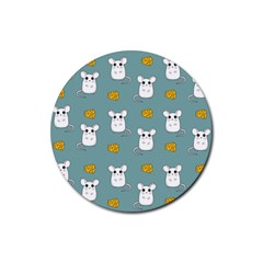 Cute Mouse Pattern Rubber Round Coaster (4 Pack)  by Valentinaart