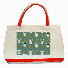 Cute Mouse Pattern Classic Tote Bag (red) by Valentinaart
