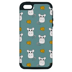 Cute Mouse Pattern Apple Iphone 5 Hardshell Case (pc+silicone) by Valentinaart