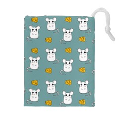 Cute Mouse Pattern Drawstring Pouches (extra Large) by Valentinaart