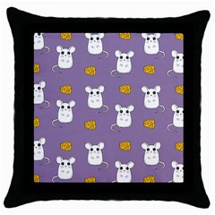 Cute Mouse Pattern Throw Pillow Case (black) by Valentinaart