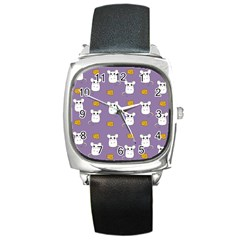 Cute Mouse Pattern Square Metal Watch by Valentinaart