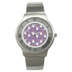 Cute Mouse Pattern Stainless Steel Watch by Valentinaart