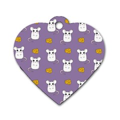 Cute Mouse Pattern Dog Tag Heart (two Sides) by Valentinaart