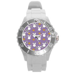 Cute Mouse Pattern Round Plastic Sport Watch (l) by Valentinaart