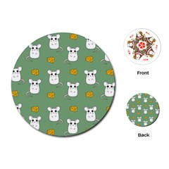 Cute Mouse Pattern Playing Cards (round)  by Valentinaart