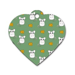 Cute Mouse Pattern Dog Tag Heart (one Side) by Valentinaart