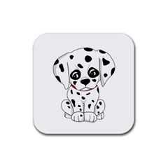 Cute Dalmatian Puppy  Rubber Square Coaster (4 Pack)  by Valentinaart