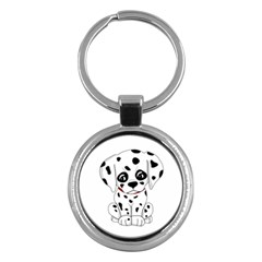Cute Dalmatian Puppy  Key Chains (round)  by Valentinaart