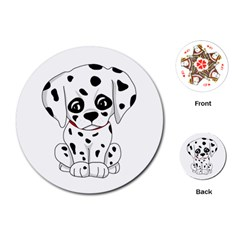 Cute Dalmatian Puppy  Playing Cards (round)  by Valentinaart
