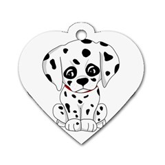 Cute Dalmatian Puppy  Dog Tag Heart (two Sides) by Valentinaart