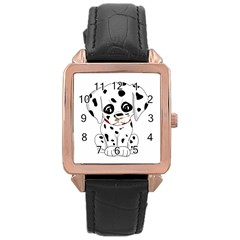 Cute Dalmatian Puppy  Rose Gold Leather Watch  by Valentinaart