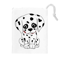 Cute Dalmatian Puppy  Drawstring Pouches (extra Large) by Valentinaart