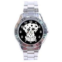 Cute Dalmatian Puppy  Stainless Steel Analogue Watch by Valentinaart