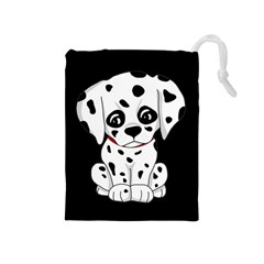 Cute Dalmatian Puppy  Drawstring Pouches (medium)  by Valentinaart