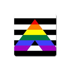 Straight Ally Flag Square Magnet by Valentinaart