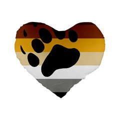 Bear Pride Flag Standard 16  Premium Heart Shape Cushions by Valentinaart