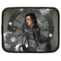 Steampunk, Steampunk Lady, Clocks And Gears In Silver Netbook Case (xl)